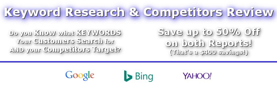 Save up to 50% Off Keyword Research & Competitors Review