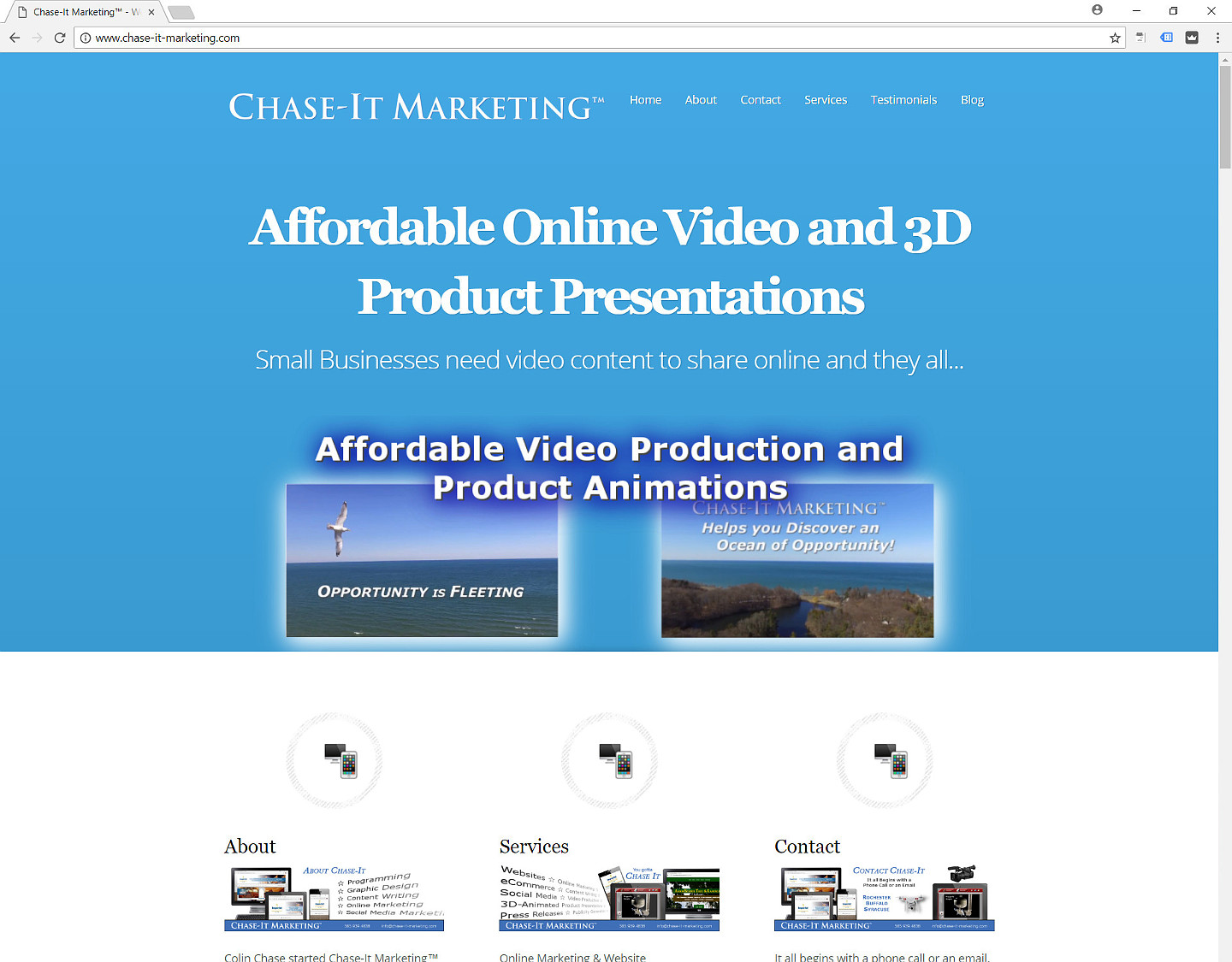 Chase-It Marketing™ Website is fully-responsive - Widescreen Desktop/Laptop view