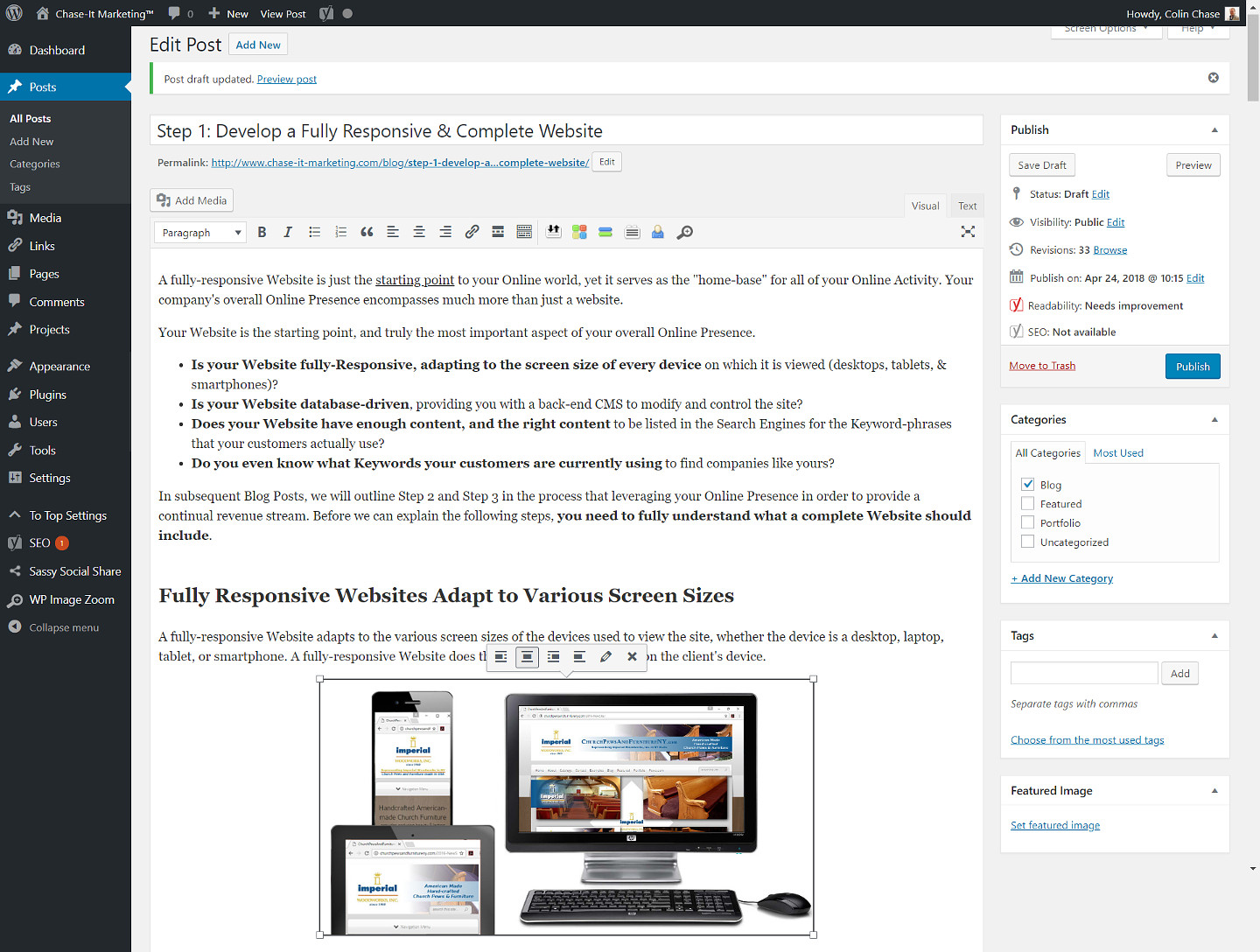 WordPress is easy-to-use with little training needed for Authors of the articles - Chase-It-Marketing
